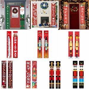 25style Noel Couplets Merry Christmas Banner Kapı Noel Couplet GGA3750-4 perde Banner Sundurma İşaret Asma bayrakları Süslemeleri Asma