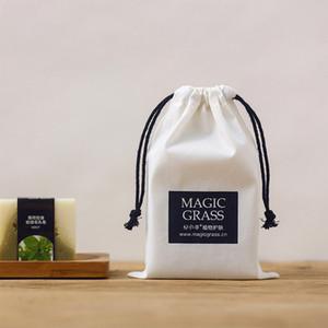 Torbalar Şık Düğün Favor Çanta Kişiselleştirilmiş Logo Packaging Takı Gift için Siyah Halat ile Beyaz Pamuk İpli Çanta