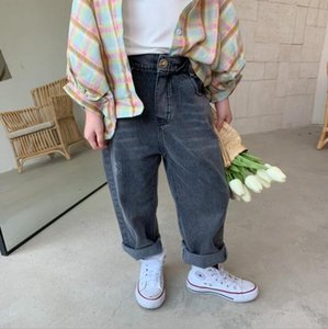 ins Newest Fall Kids Boys Girls Jeans Denim Trousers Korean Jeans Girls Boys Casual Denim Pants Long Trousers Children Clothes