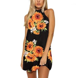 Backless Clothing Fashion Beach Night Club Casual Apparel Womens Summer Sexy Flower Print Dresses Halter Mini Sleeveless