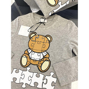 Kids Clothes Boys Girls Fashion Bear with Letter Printed Sweatshirts Kids Children Fashion Long Sleeve Crew Neck Pullove Tops