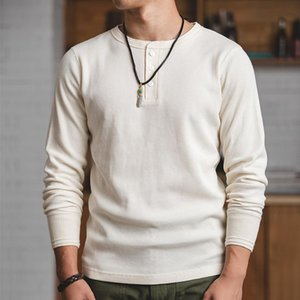 MADEN Mens Regular Fit Long Sleeve Pullover Waffle Cotton Henley t-Shirts Creamy White CJ200410