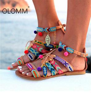 Super personnalité grande taille Ethnic style Sandales Femmes Boho Sandales Compensées pour Femmes Chaussures De Mujer Plate-forme