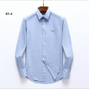 GUCCI ملابس الرجال عارضة أعلى جودة اللباس قمصان قطن 100٪ قميص كم طويل لون الصلبة التطريز الأزياء الأعمال M-3XL