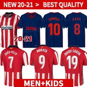 20 21 جديدة # 7 جواو فيليكس لكرة القدم الفانيلة 2020 2021 الرجال الأطفال أتلتيكو مدريد KOKE شاول CORREA THOMAS LEMAR كرة القدم قمصان Camiseta دي فوتبول