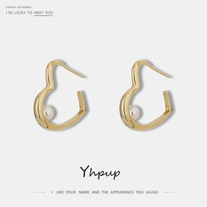 Yhpup Personality Temperament Brand Heart Geometric Stud Earrings Europe and America Gold Metal Charm Brincos Women Party Gift