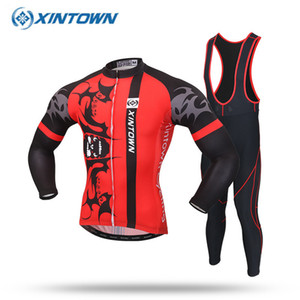 XINTOWN 2020 Pro Long Sleeve Cycling Wear Clothes Mountain Bicycle Cycling Jersey Bib Pants Set Breathable Clothing Set