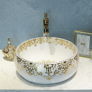 Золотой узор Китайских античный керамической раковины фарфор умывальник керамический счетчик Top Умывальник ванная Раковина шкаф с умывальником