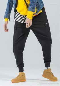 Pocket Spring Осень Стиль Homme Одежда подростковая Hip Hop моды одежды Mens Casual Дизайнер Брюки Solid Color