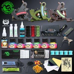 Professionellen Tattoo-Kits Top Artist Komplett-Set 3 Tattoo Maschinengewehr-Futter und Schattierung Inks Stromversorgung Needles