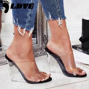 2020 donne 11,5 centimetri alti talloni di cunei sandali trasparenti Slides estive Pompe Jelly Female Valentine Cancella Tacchi Sandali
