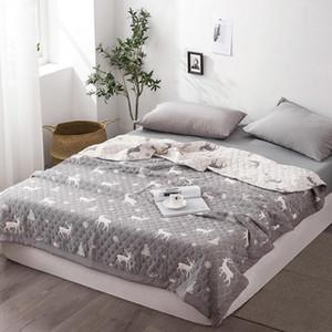 Famvotar Chic Cartoon Deer Summer Quilt Comforter Reversible Full Gift for Boys Girls Adult's Bed Couch Coverlet Blanket -Grey