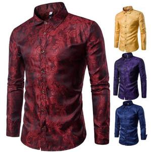 Рубашки Мода Твердые Темный Цветочные Печатается с длинным рукавом нагрудные образным вырезом рубашки клуба Mens рубашек платья Luxury Mens конструктора