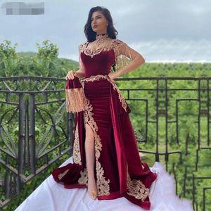роскошный арабский Mermaid Бархатные платья вечера 3 шт Overskirt сторона Сплит Аппликация Кружева Пром платья High Neck кисточкой алжирский Outfit