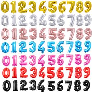 32-дюймовые номера фольги воздушные шары цифры 0-9 шариков для свадьбы день рождения украшения дети взрослых балонов юбилейные принадлежности