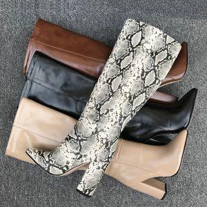 AIWEIYi New Sexy kniehohe Stiefel für Frau Snake Print-Platz High Heels Overknee-Pelz-Beleg auf Runway Botas Schuhe