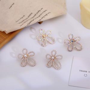 석 earringsPearl earringsPearl 꽃 귀걸이 화려한 라인 스톤이 GIR 과장과 중공 IuDrA 한국 스타일 S925 실버 바늘