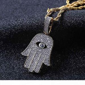 ICED OUT CZ BLING FATIMA HAND مدلاة عقد رجل مايكرو تمهيد مكعب زركونيا الماس مقلد قلادة