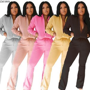 Модные женские Набор Zipper вверх фуфайки Wide Leg Flare Bellbottom штаны Jogger костюм Два Piece Set костюмы Костюмы