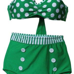 0SIsW Mayo göbek kapsayan askısı asılı bel bikini polka mayo nokta boyun yastığı Bikini azıya torba yüksek bel komple toplama