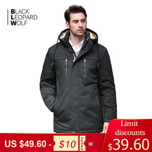 Blackleopardwolf jaqueta de inverno casaco fashion casaco parka homens punhos grossa confortáveis revestimento destacável 200922