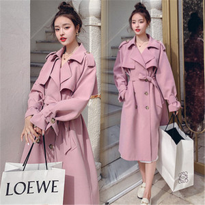fashion 2020 Spring Autumn Long Trench Coat For Women Casual Lady Double Breasted street Windbreaker Coat Female outerwear G197
