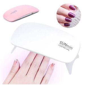 6W Mini UV LED Travel Pocket Size Nail Dryer For Gel Polish Lamp Portable Curing Base Gel Top Color Gel Dryer Detection Light Pink White