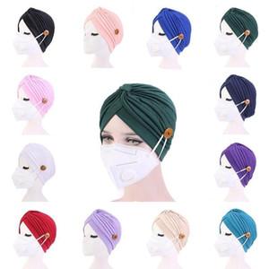 Turban Hats Mask Headband with Button Indian Caps Stopper Pure Hat Turbante Headwear Adult Bandana Hijab Towel Hair Accessories FWB3345