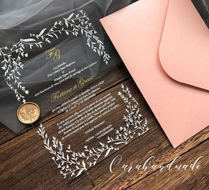 CA0967 Customized acrylic wedding invitation with leaves design