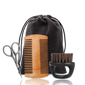 For Men Set Cuidados de madeira pente naturais javali cerdas da escova Barba Scissors Suit nao fácil deformar Grooming Kit presente 15mb BB