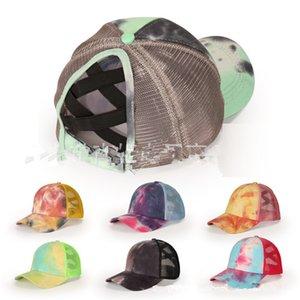Tie Dye Criss Cross Ponytail Baseball Cap Adults Adjustable Hip Hop Hats Ball Cap Summer Outdoor Sun Protection Cotton Mesh Hats D92102