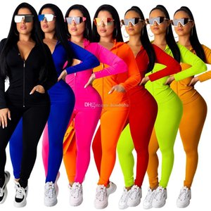 2020 Kadınlar Eşofman İki adet Seti Uzun Kollu Kıyafetler Fermuar Hırka Artı boyutu Spor Koşucular Sokak Giyim S-2XL