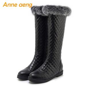2020 New hiver Femmes genou haut Bottes talon carré central bout rond Fermeture à glissière en fourrure solide Mode Femmes Chaussures Bottes Noir Chaud