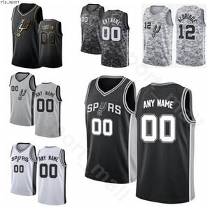 Экран печати Баскетбол Тони Паркер Джерси Джинобили Тим Данкан Брюс Боуэн Дэвид Робинсон Черный Белый Серый Camo High / Top