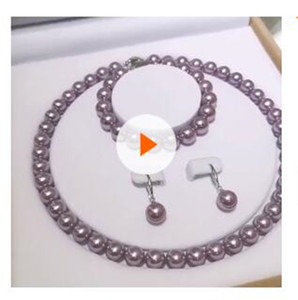 Beau mariage 8-10mm collier blanc perle Akoya Parures pour les femmes dans les bijoux Coffrets-cadeaux en gros