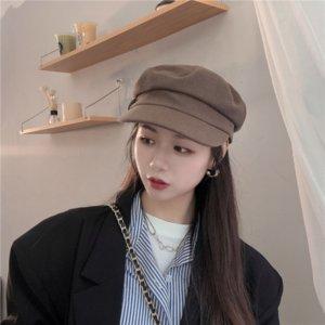 tLj5R Şapka kadın sonbahar ve kış Kore tarzı kadife moda düz tüm maç İnternet popüler tepeli üst üst kapağı sivri beret beret