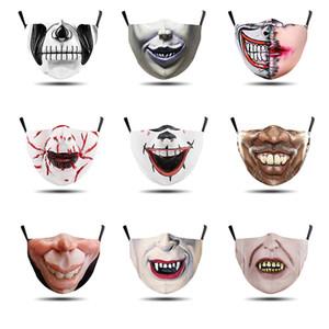 New máscara produto Halloween costura coringa boca ajuste de impressão digital gancho máscara de pó de vida proteção diária
