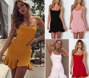 Women sexy dress Summer female sling wrap chest halter dresses ladies Solid short clothing for women off shoulder pleated33