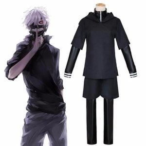 JP Anime Tokyo Ken Goule Kaneki cosplay costume ensemble complet Bla cuir Lutte Uniforme Femmes Hommes Halloween Costume masque perruque