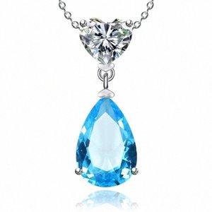 925 Sterling Silver Colares para mulheres simples Sapphire / Ruby Water Drop nupcial do casamento Fine Jewelry Pendant Nenhuma corrente qd4v #