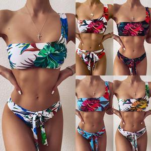 Kadın Mayo 2020 Yeni kadın mayo Baskı mayo plaj bikini BODYCON Ünlü akşam parti Bandaj bodysuits bodysuit