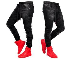 Les jeans pour hommes Jeans élégant noir mode jogger élastique pantalon en denim taille crayon Biker Jean Pantalons