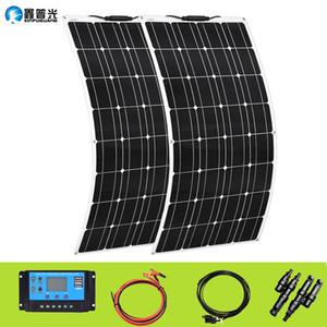 XINPUGUANG 200w sistema de painel solar flexível 2X 100W Solarpanel 100 w 12 volts 24 v controlador fotovoltaica preços atacado LJ200901