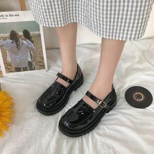 Rimocy Новая мода Черный лакированной кожи Mary Janes обувь Женщины Пряжка платформы насосы Женщина Толстый каблук Круглый Toe обувь Женские