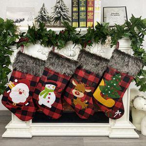 Weihnachtsstrümpfe karierte Socken Weihnachtsmann Weihnachtsstrumpf-Geschenk-Tasche Niedliche Weihnachtsbaum Ornamente Partei Weihnachtsdeko RRA3457