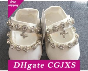 Bling Bling New Arrival Baptism Shoes For Baby Rhinestone Kids Formal Wear Ivory Crystal Girls ' ;Shoes In Stock