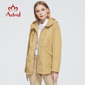 Astrid 2020 Yeni Bahar Sonbahar Trençkot kısa Windproof Pamuk kapüşonlu moda eskitmek WINDBREAKER kadın giyim 9381