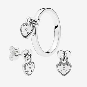 Amour chaleur Pendentif Anneau et boucles d'oreilles pour Pandora Argent 925 anneaux de mariage dormeuses avec la boîte originale pour les femmes