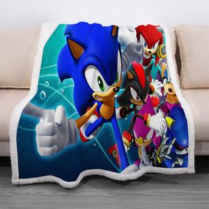 Anime Sonic the Hedgehog Blanket 3D impresso velo por espessas camadas Quilt Moda Colcha Sherpa lançar cobertor Adultos Crianças 01