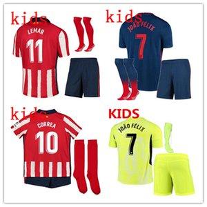2020 2021 سواريز JOAO FELIX أتلتيكو مدريد لكرة القدم جيرسي 2020-21 الاطفال camiseta دي فوتبول M.LLORENTE SAUL KOKE DIEGO COSTA قمصان كرة القدم